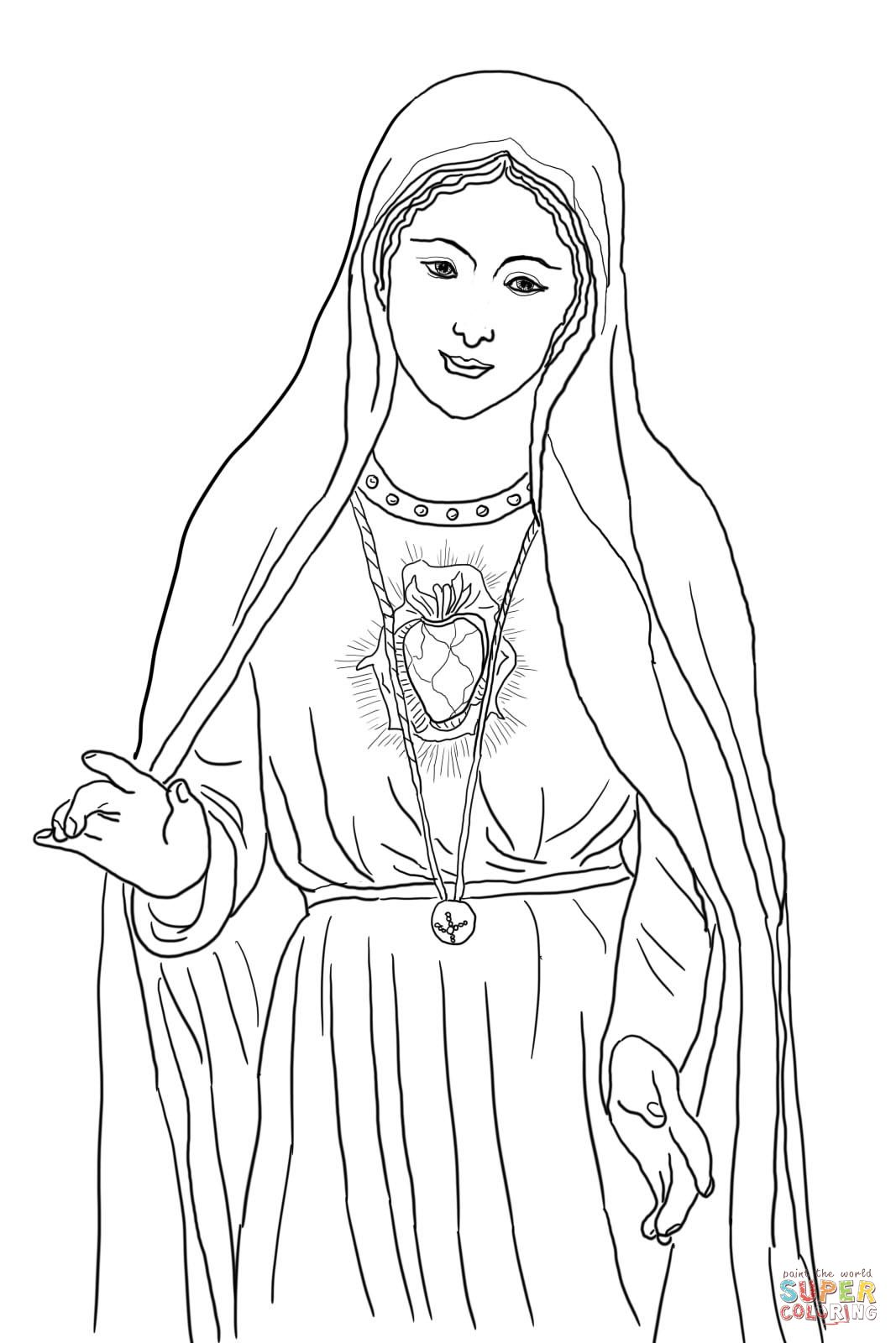 Immaculate Heart of Mary Coloring Online Heart coloring
