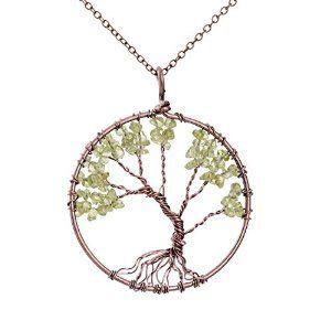 [Sponsored]Merdia Pendant Necklace Tree Of Life Pendant Gemstone Jewelry for Women 5YeNprM3