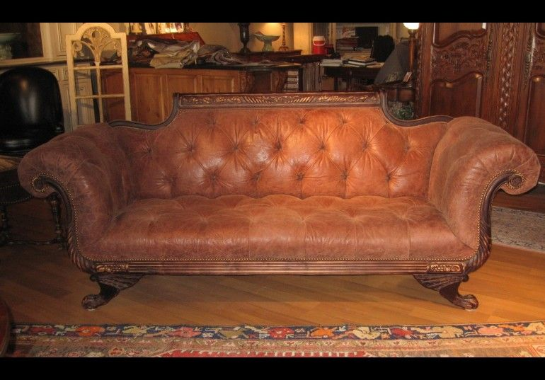 Merveilleux Duncan Phyfe Sofa Tufted High Quality Leather