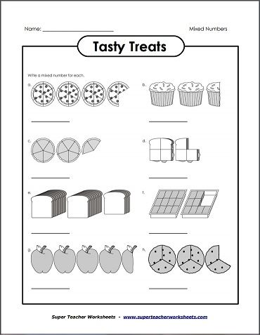 Tasty Treats Mixed Numbers Super Teacher Worksheets Teacher Worksheets Printable Math Worksheets