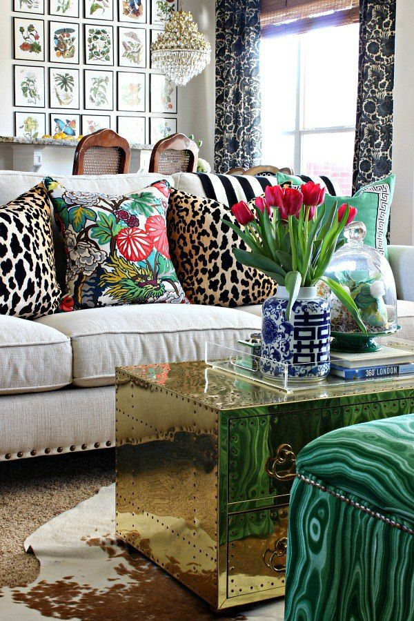 Eclectic White Sofa Animal Print Throw Pillows Gold Chst