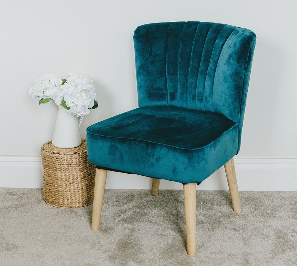 1950s Accent Chairs.Velvet Oyster Occasional Chair Teal Fluted 1950 S Bedroom Living