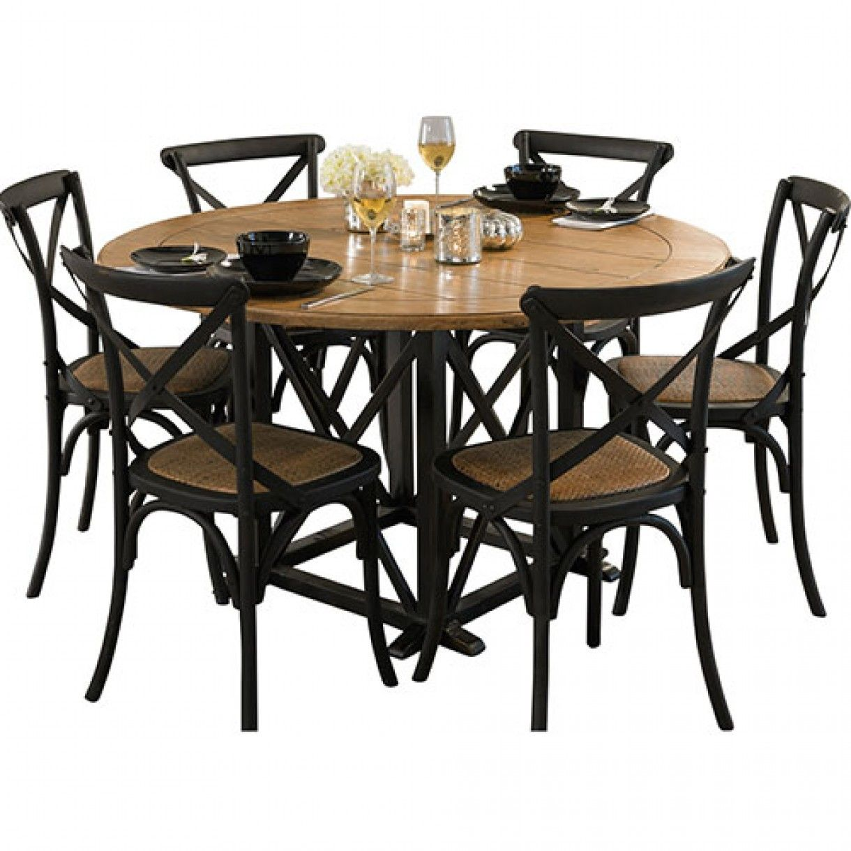 Provincial Oak Round Table Black With 6 Cross Back Chairs