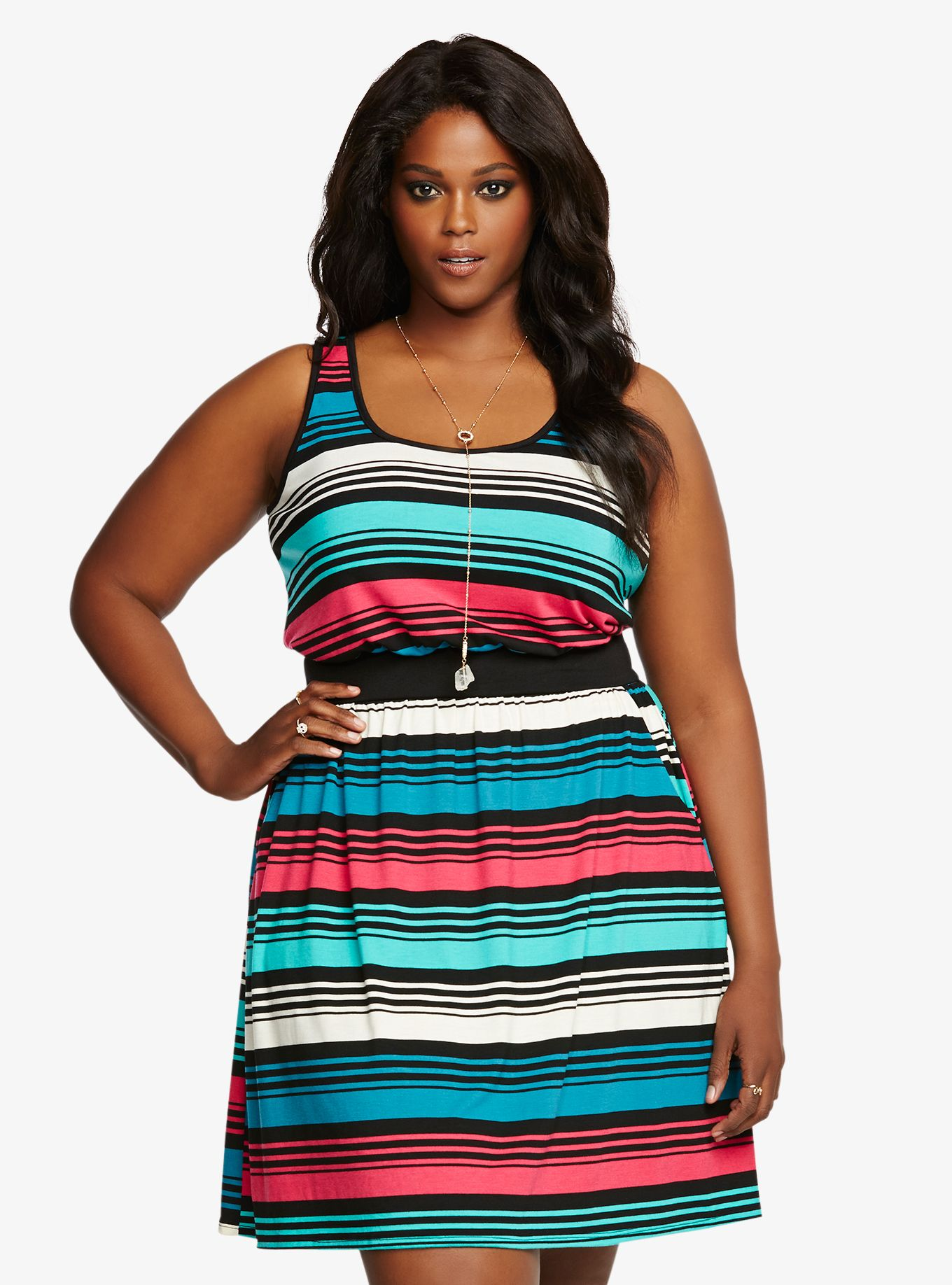 Multi-Colored Striped Tank Dress | Torrid | Éadaí Gleoite! | Plus ...