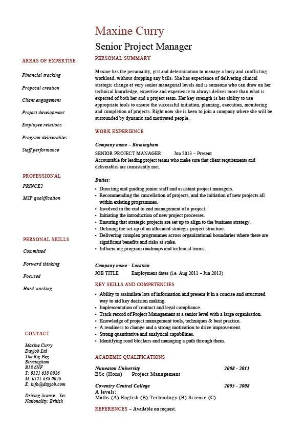 Senior project manager resume, sample, example, references, job - retail assistant manager resume