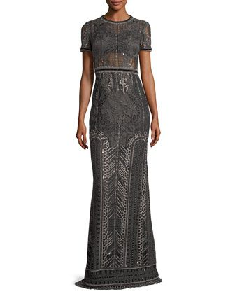 cfdf3f5e Embroidered+Lace+Cap-sleeve+Column+Evening+Gown+by+Marchesa+Notte +at+Bergdorf+Goodman.