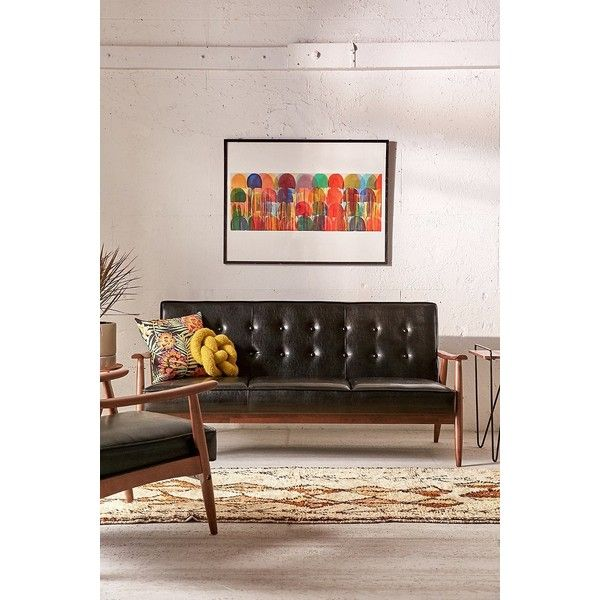 Wyatt Vegan Leather Sofa ($629) ❤ Liked On Polyvore Featuring Home,  Furniture,