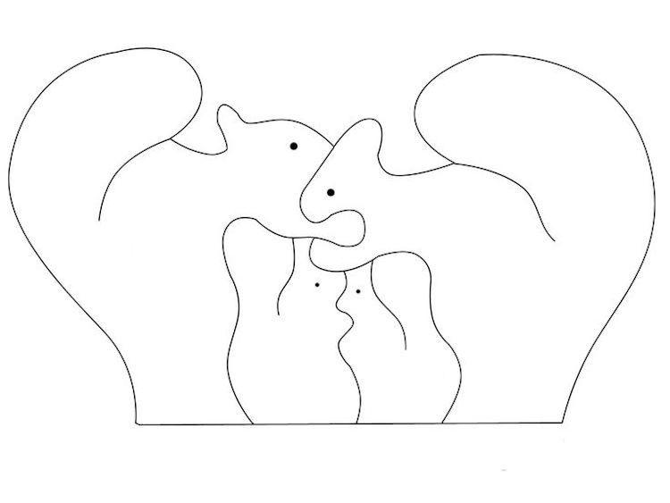 Dekupieren Vorlagen Download Kostenlos Tiere Eichhornchen Familie Dekupiersage Vorlagen Tier Puzzle Holzspielzeug Fur Kinder