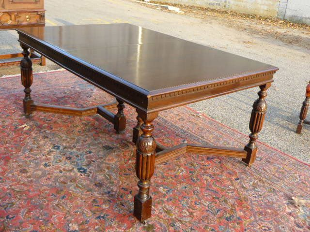 ANTIQUE 1940s WALNUT TUDOR JACOBEAN STYLE Apartment Size DINING TABLE In  Antiques, Furniture, Tables