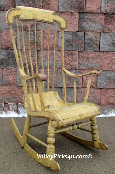 44.25in tall. Fab deeply carved back. FANTASTIC Rare Antique Boston Windsor New England Primitive Rocking Rocker Chair & Rare Antique Boston WINDSOR New England Primitive Rocking Rocker ...