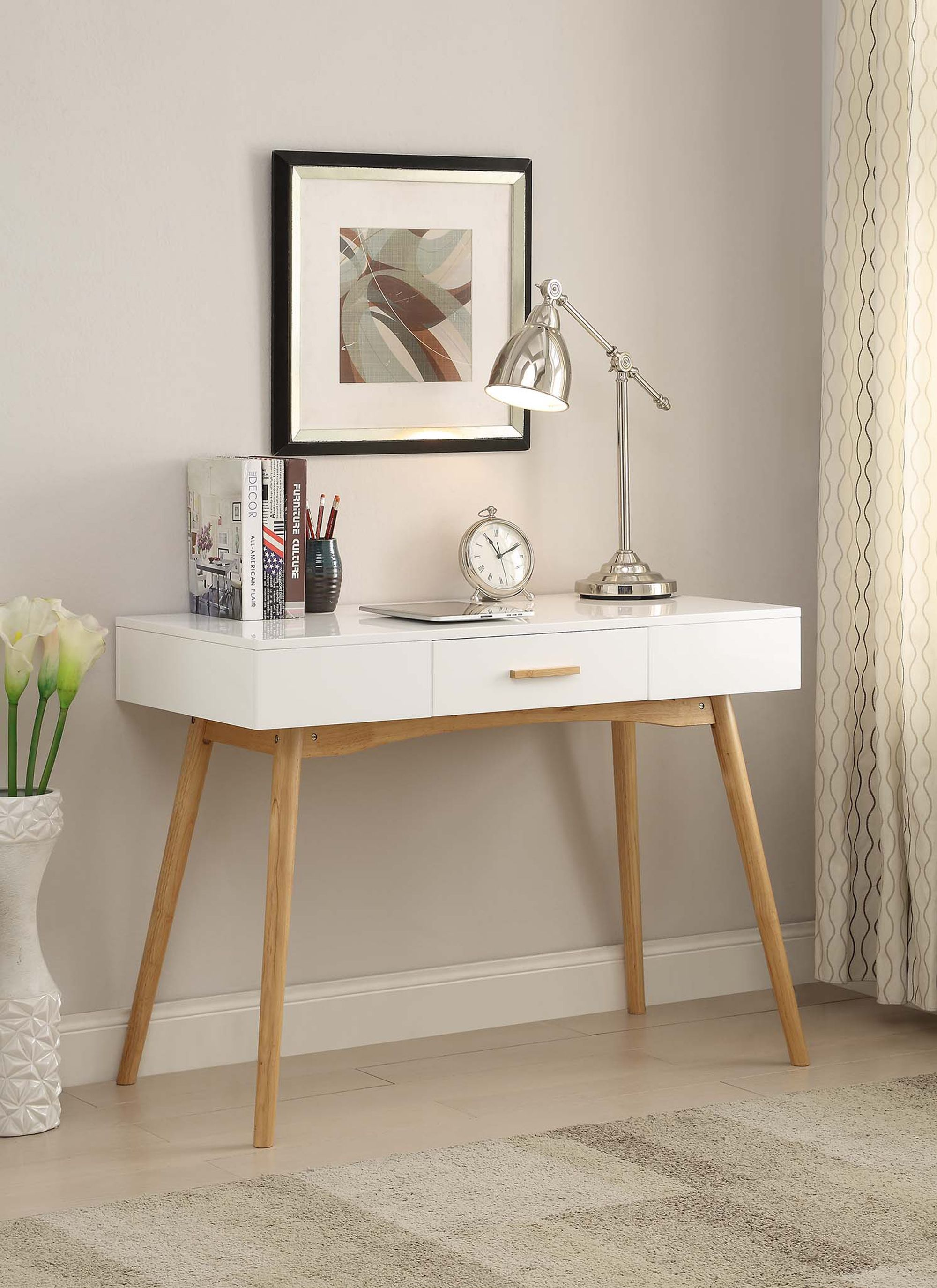 Convenience Concepts Oslo 1 Drawer Desk White In 2020 Desk With Drawers Home Office Desks White Writing Desk