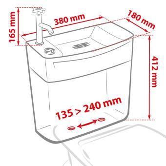 Reservoir Ise O Combine Lave Mains Double Touche Attenant Blanc Wirquin Lave Main Wc Gain De Place Lave