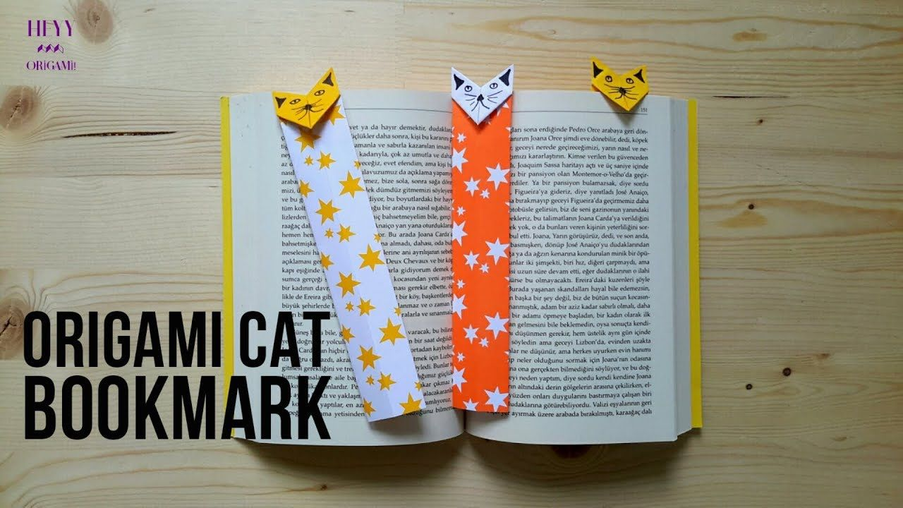 Origami Cat Bookmark Tutorial Origami, Kitap ayracı, Kitap
