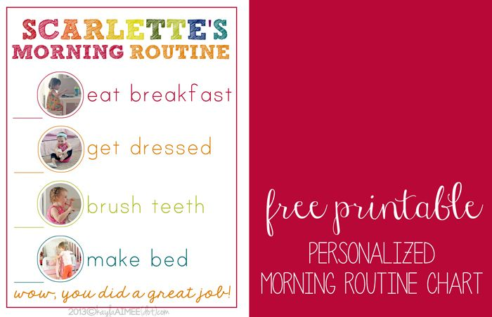 Free Printable Personalized Morning Routine Chart For Kids Abigail
