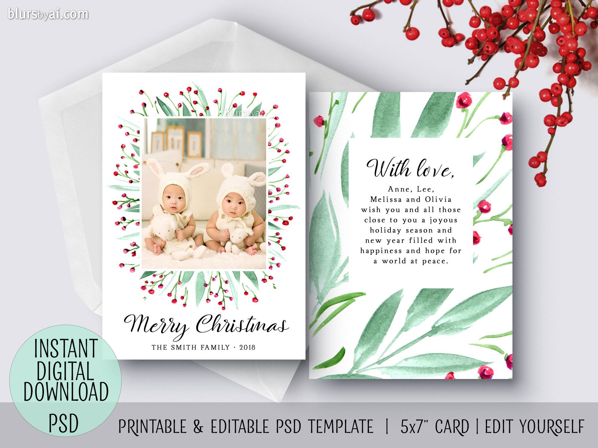 Editable Psd Christmas Card Template Bohemian Watercolor Bouquet Christmas Photo Card Template Christmas Card Template Photo Card Template
