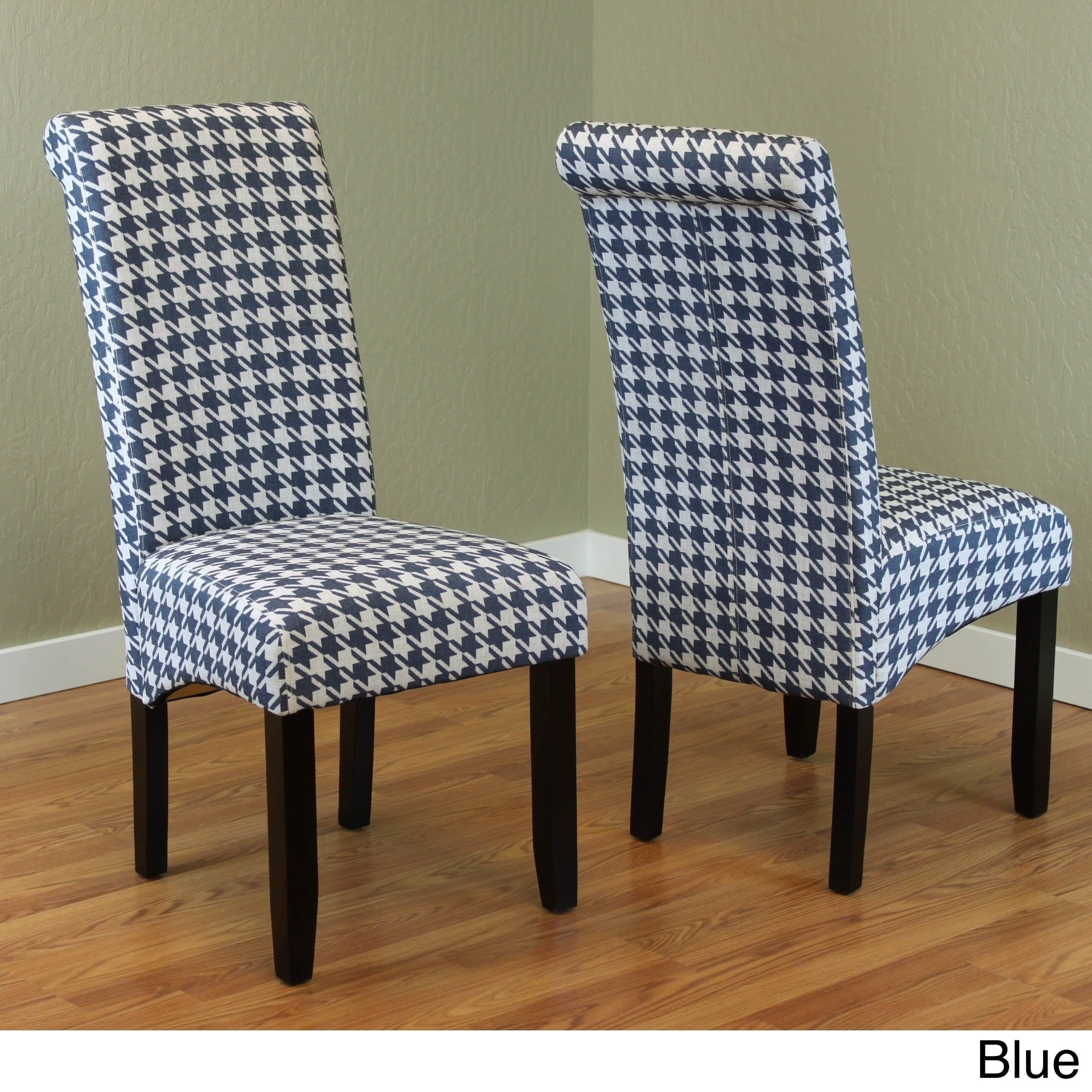 Remarkable Milan Wood And Linen Houndstooth Dining Chairs Set Of 2 Creativecarmelina Interior Chair Design Creativecarmelinacom