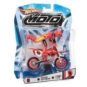 Hot Wheels Moto Motorcycle With Rider Action Figure 8 Red