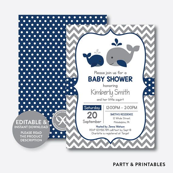 Instant Download Editable Whale Baby Shower Invitation Navy Whale