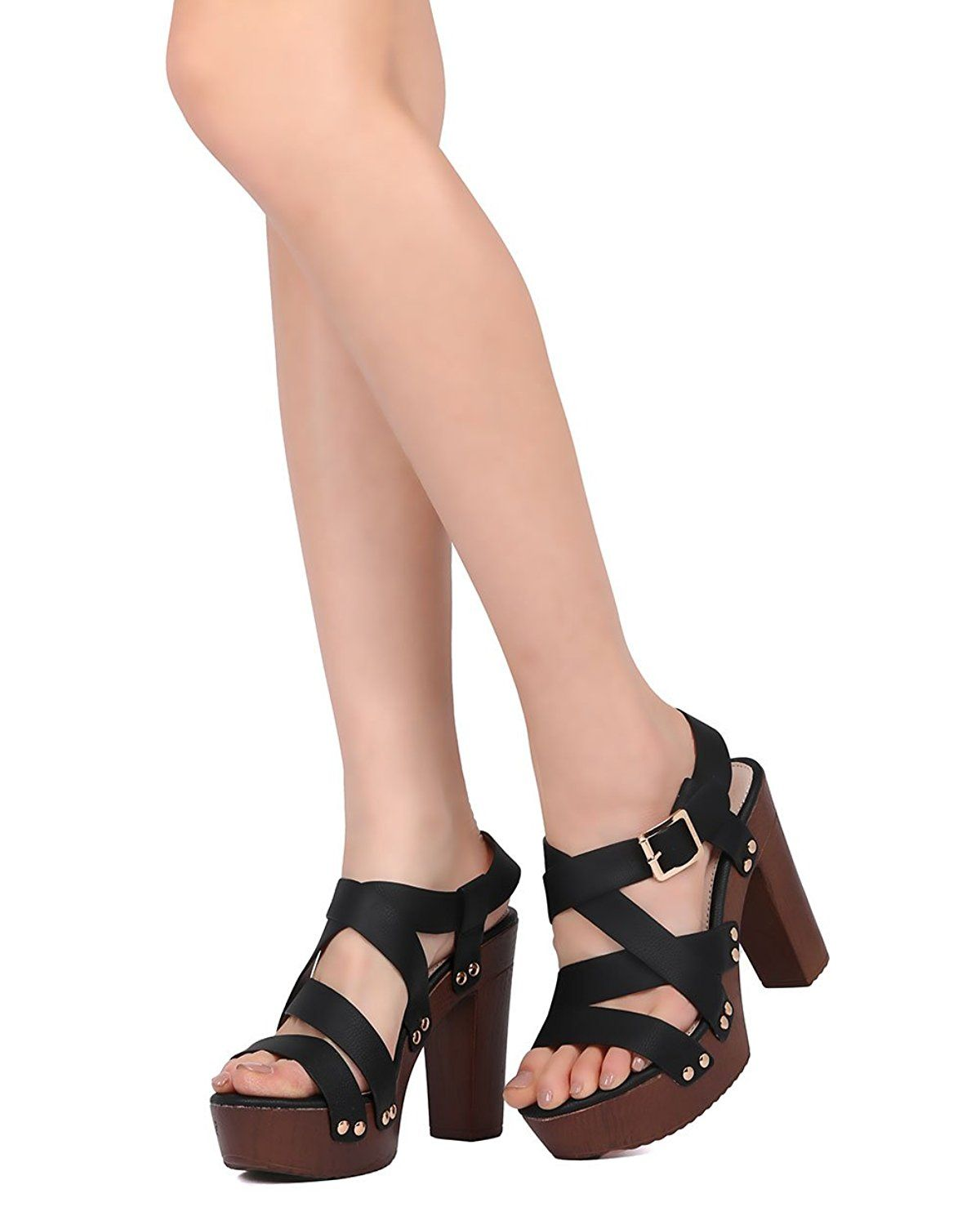 cd6598db7d Alrisco Leatherette Strappy Faux Wooden Block Heel - Dressy, Party, Date  Night - Chunky Heel Pump - GD43 by ** You can find more details by visiting  the ...