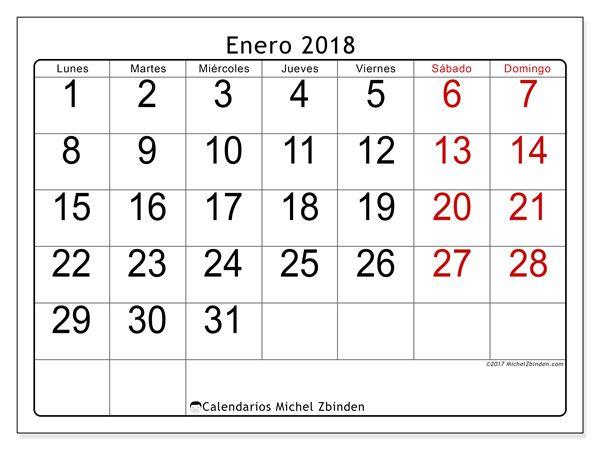 Calendario para imprimir enero 2018 - Emericus | Plantillas de ...