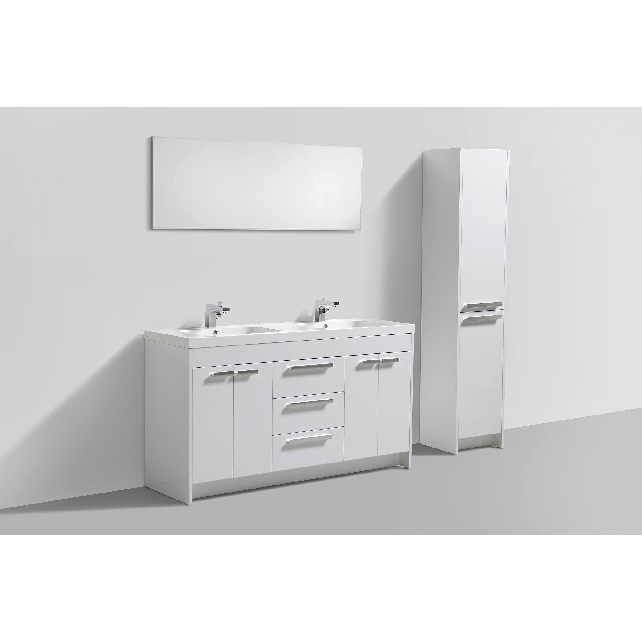Eviva lugano inch white modern bathroom vanity with white