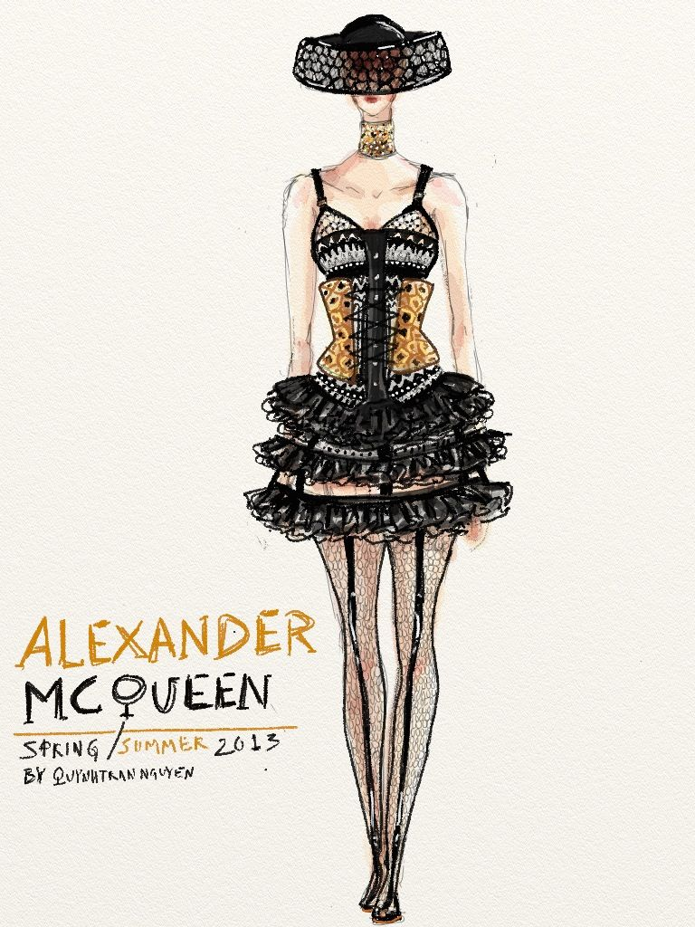 Mcqueen fashion sketches of dresses