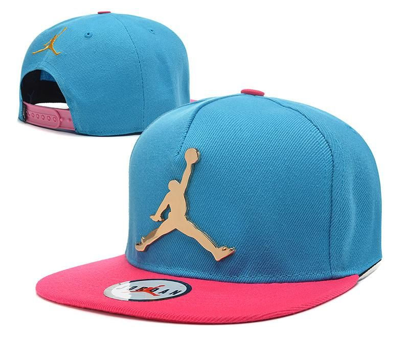 9a6c4161cf8 Mens Air Jordan The Jumpman Iron Gold Metal Logo A-Frame 2016 Big Friday  Deals Snapback Cap - Aqua   Pink
