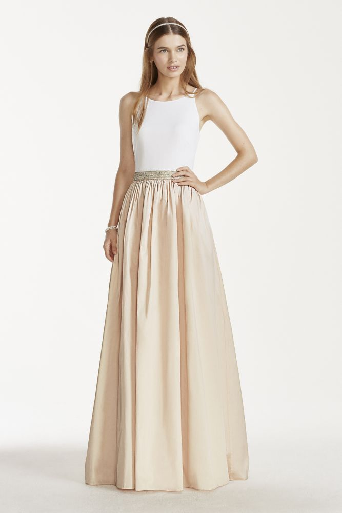 Taffeta Tank Wedding Dress with Beaded Waistband and Ball Gown Skirt ...