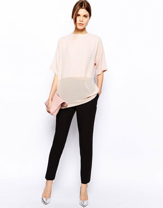 Gimme Gimme: Sheer Contrast Blush Top