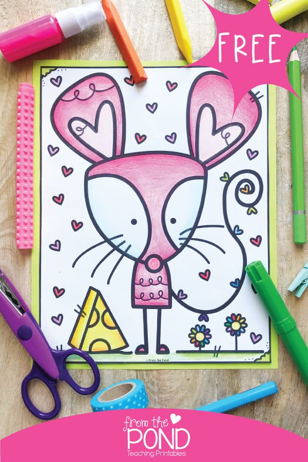 Mouse coloring page for a fun coloring project Teaching