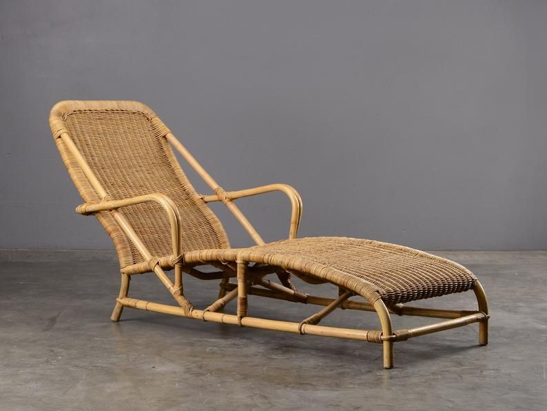 Vintage Rattan And Bamboo Chaise Longue Lounge Chair Etsy