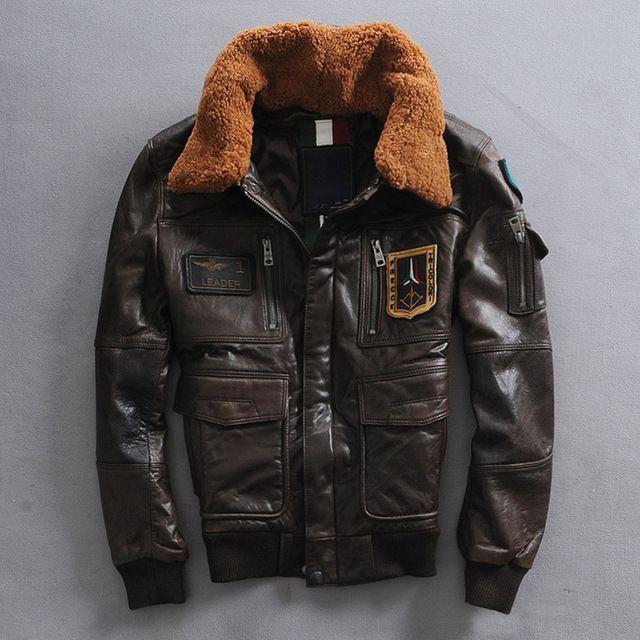 37e875967b2 Vuelo de la fuerza aérea chaqueta marrón oscuro cuello de piel genuina  chaqueta de cuero hombre piloto militally invierno de la chaqueta de cuero  de piel de ...