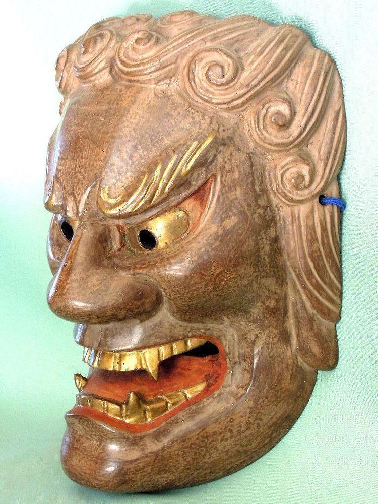 Wooden! Japanese Traditional Noh Mask Demon ONI Samurai Kagura Kabuki Bugaku