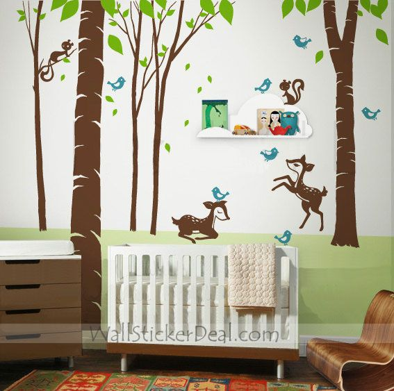 Fantasy Woodland Wall Sticker Animal Wall Decals Forest Wall