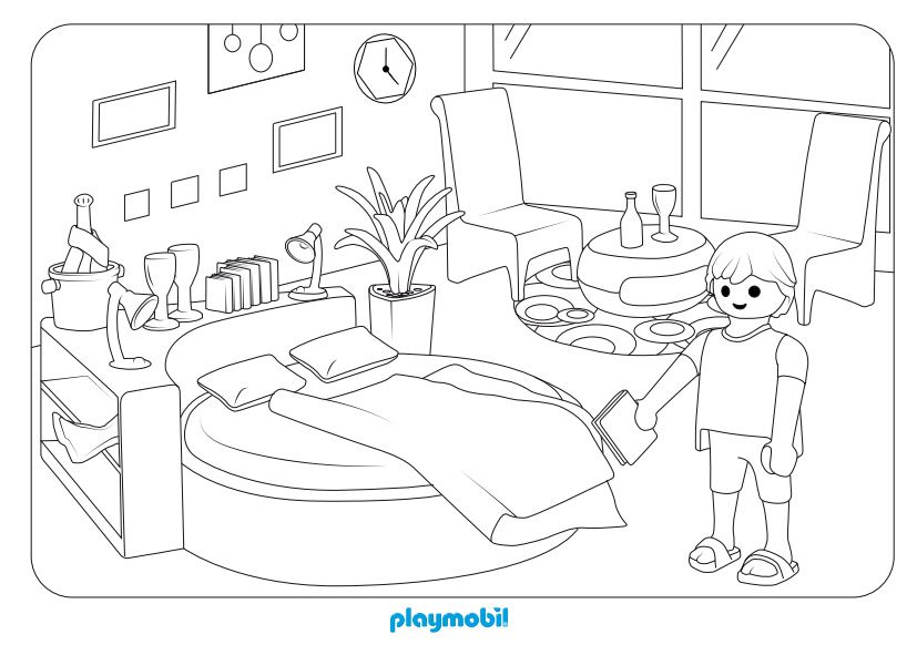 dormitorio playmobil para colorear  casa  pinterest