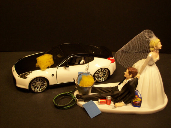 AUTO CAR Wash Nissan 370 Z Bride and Groom Wedding Cake Topper Funny     car cake toppers   AUTO CAR Wash Nissan 370 Z Bride and Groom Wedding Cake  Topper Funny      I Need  A Nissan Skyline GTR