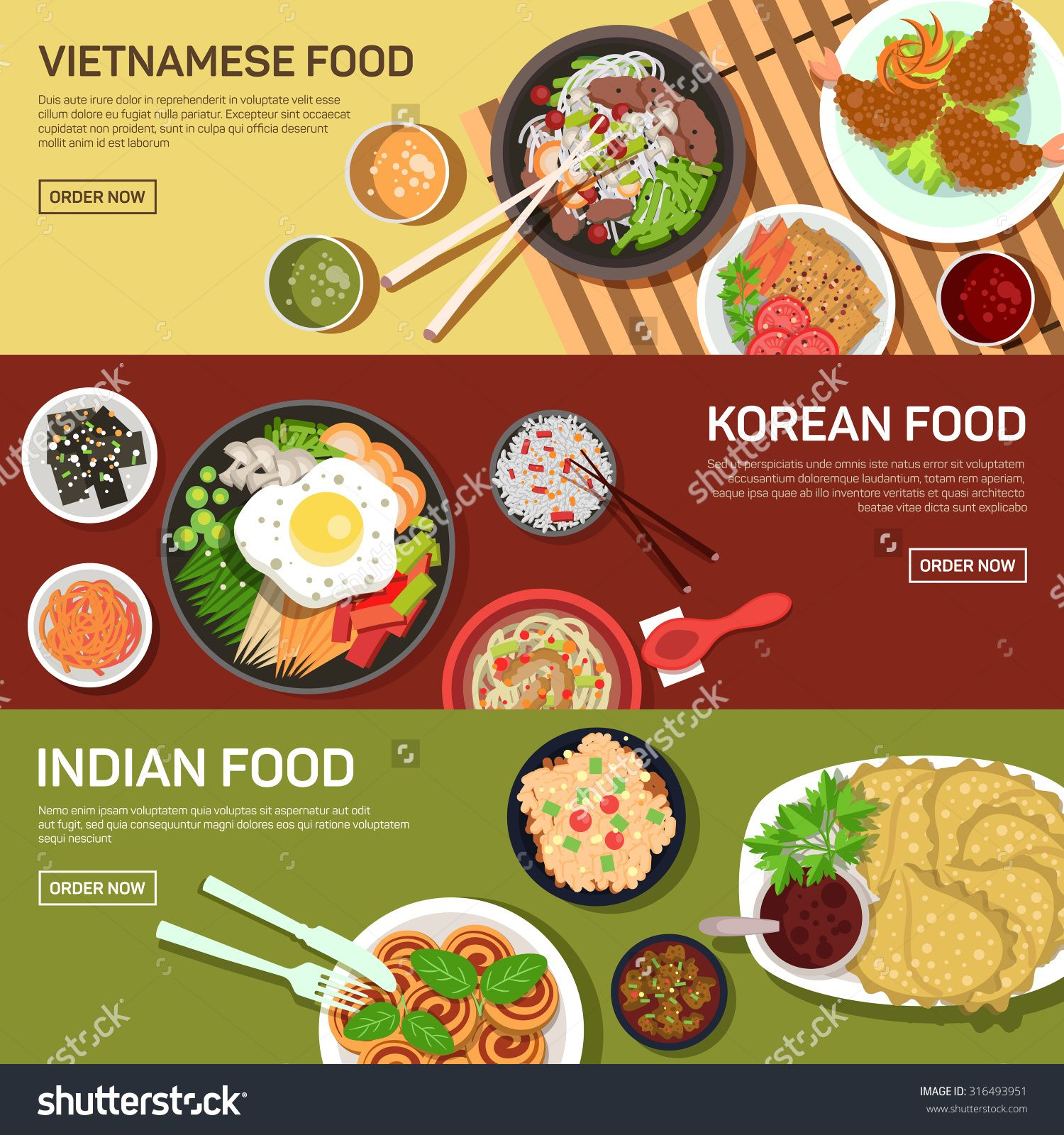 Stock vector asian street food web banner thai food for Asian cuisine indian and thai food page