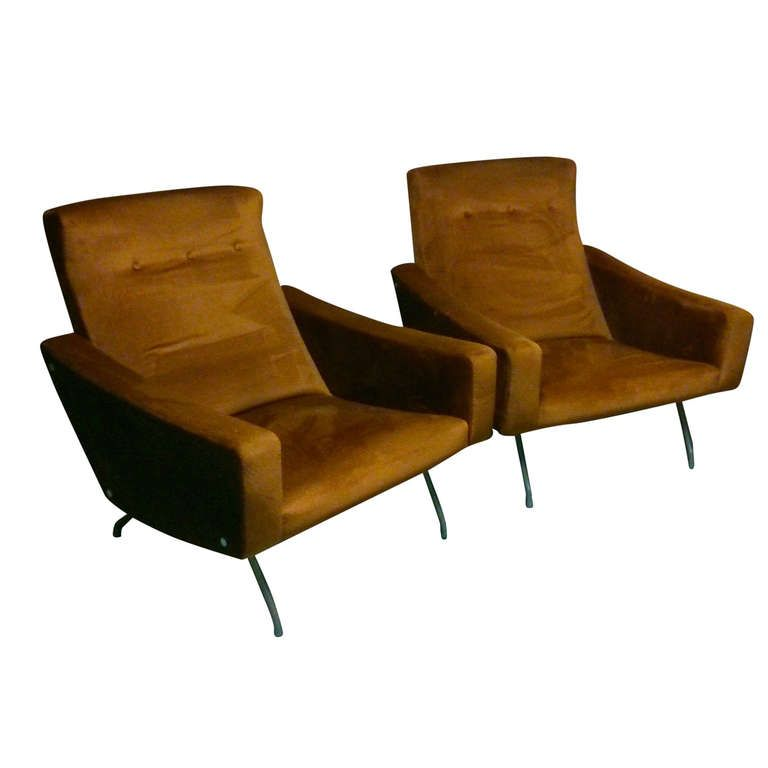 Pair Of Armchairs By Joseph Andre Motte For Steiner Editions France Ca 1950 S Armchair Furniture Retro Furniture