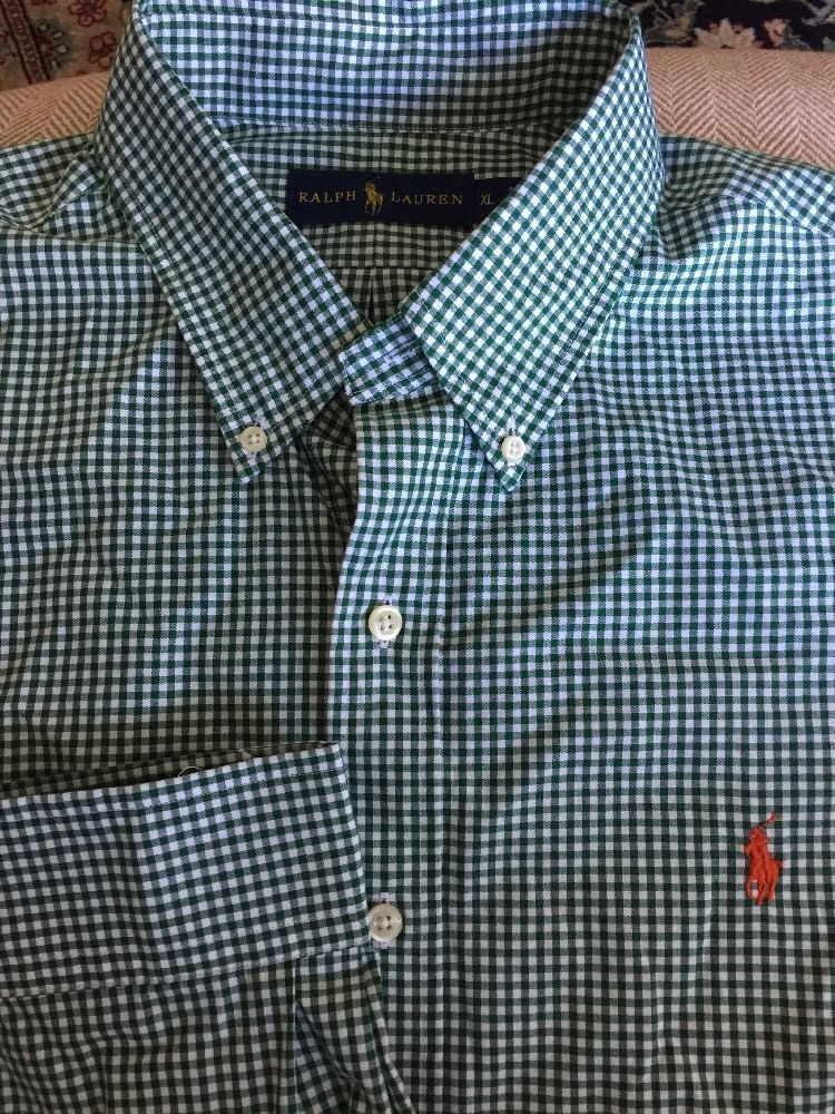 38eea6a934db Men Ralph Lauren Green White Checked X-Large Shirt Long Sleeve Orange Logo  | eBay