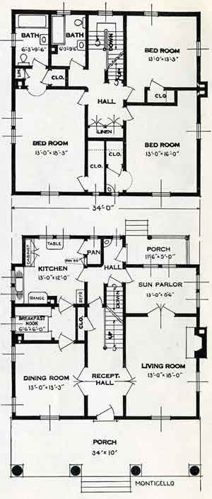 Standard Home Plans For 1926 The Monticello House Plans Vintage House Plans Floor Plans