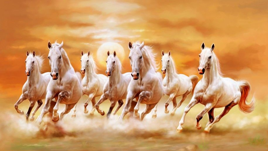 Beautiful White Horses Galloping Orange Sunset Sky Ultra Hd Wallpaper Horse Wallpaper Seven Horses Painting White Horse Painting