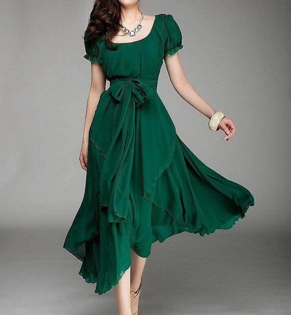 Pinterest Woman Emerald: Women's Jade Green Color Chiffon Long Skirt Circumference