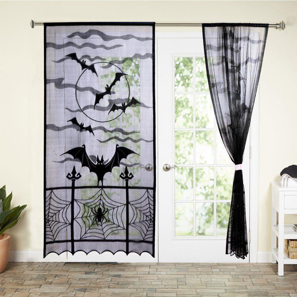 Halloween Black Lace Spider Web Window Curtain Valance Spooky Bats