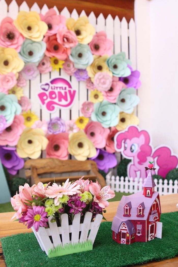 Centerpieces from a My Little Pony Pastel Birthday Party via