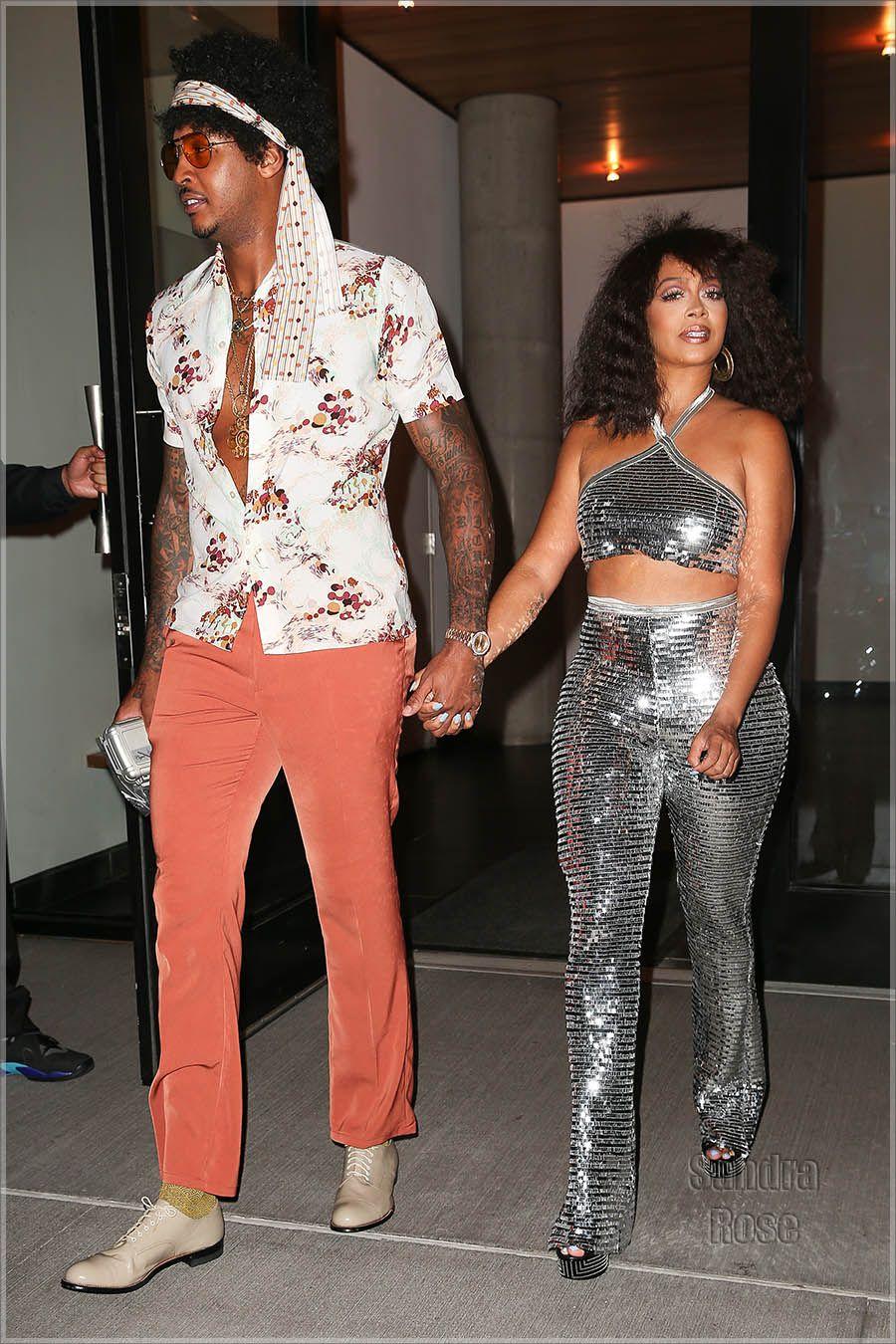 00ae3f14dd Carmelo & La La Anthony attend Beyoncé's Soul Train themed 35th  birthday ...
