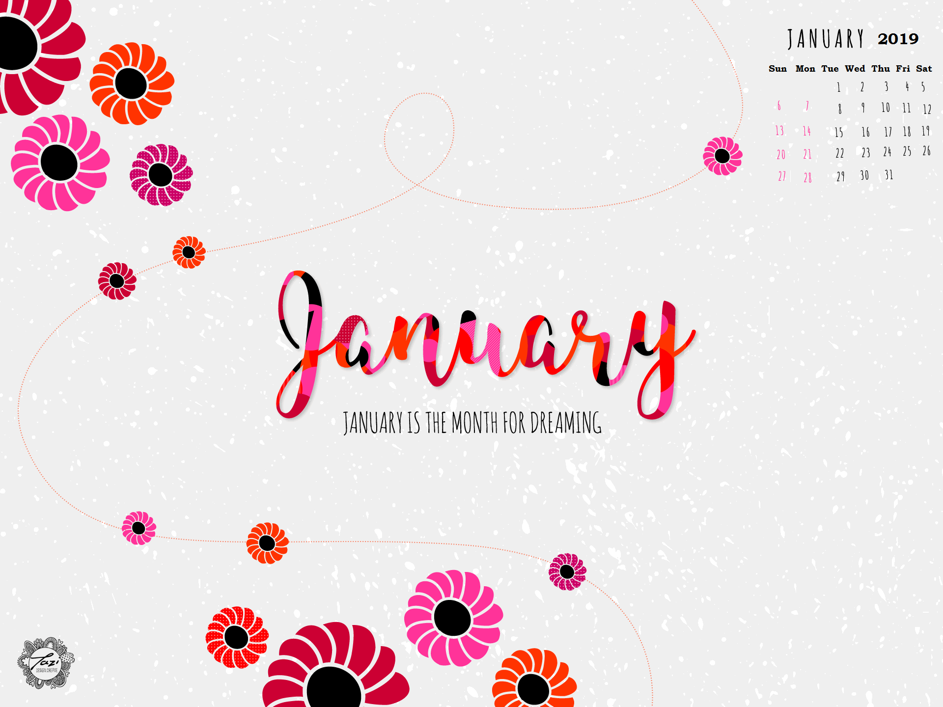 Cute January 2019 Calendar Background Wallpaper Cute January 2019 Calendar Wallpaper | Monthly Calendar Templates