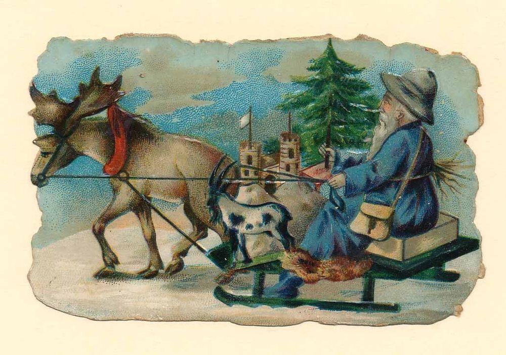 012 Alte Oblate Glanzbild  Weihnachtsmann m. Elch  Litho. ( 7,5 x 5 cm) 1890