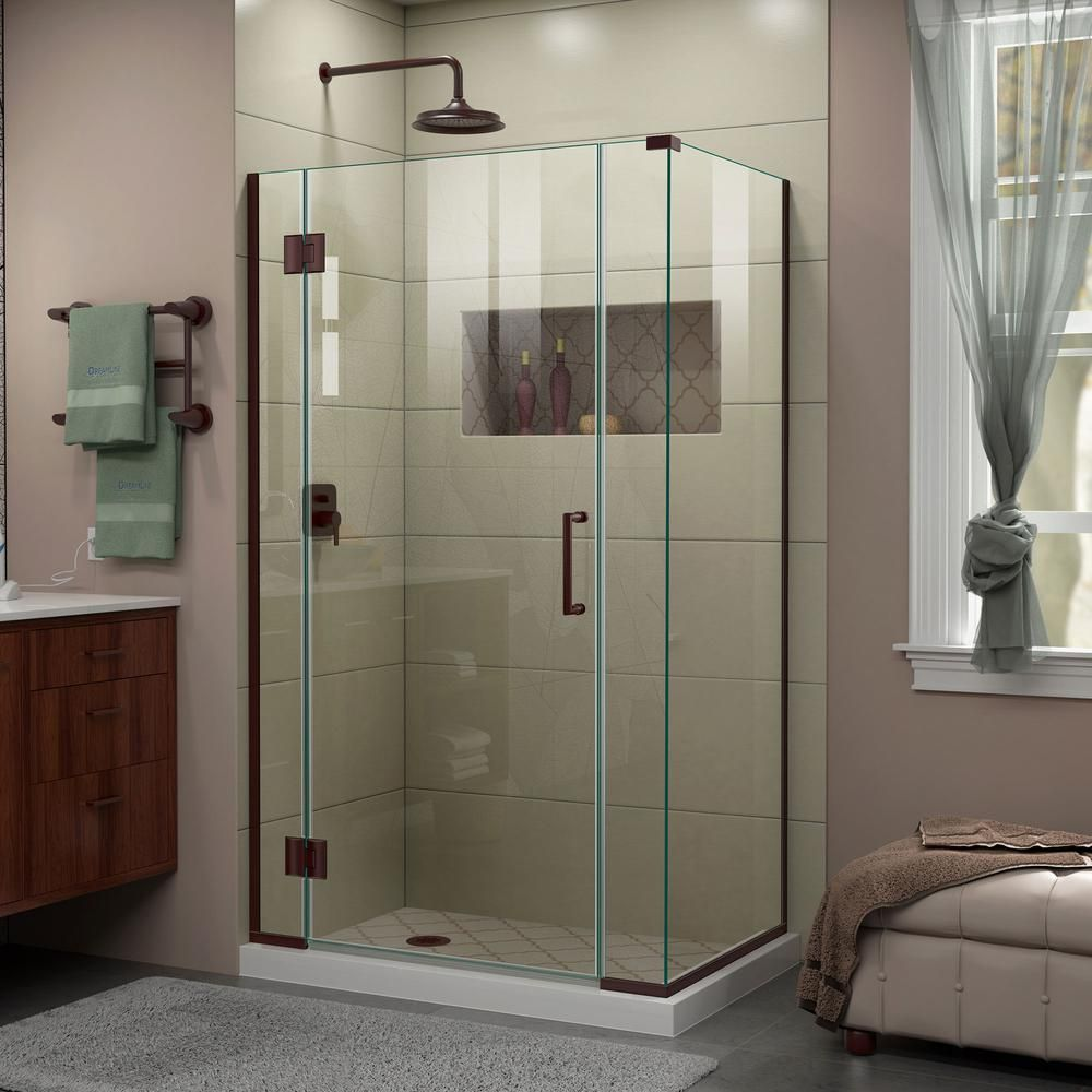 Dreamline Unidoor X 40 5 In W X 34 3 8 In D X 72 In H Frameless Hinged Shower Enclosure In Oil Rubbed Bronze E12806534 06 Shower Doors Frameless Shower Doors Frameless Shower Enclosures