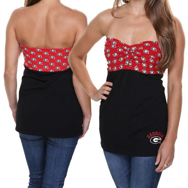 78cdd0ccb9 Georgia Bulldogs Women s Flirty Repeat Tube Top - Red Black ( 35) ❤ liked  on Polyvore featuring tops