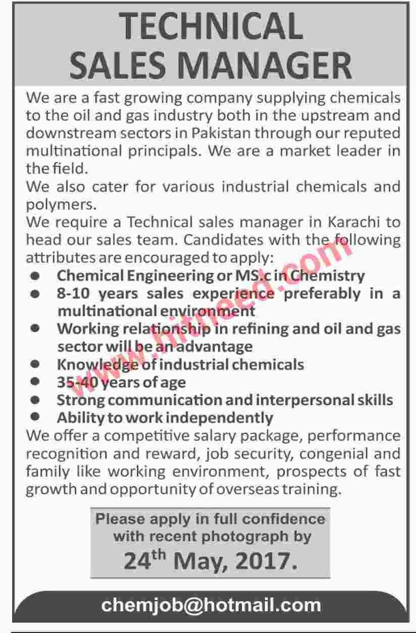 Technical Sales Manager, Industrial Chemical Supplier Jobs, May 2017